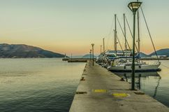 Dock of the port of Sami on the Ionian sea on the island of Kefa Royalty Free Stock Photo