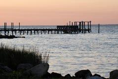 Dock at Saint George Island, Florida. Beautiful sunset over the Gulf of Mexico at Saint George Island Florida stock photo