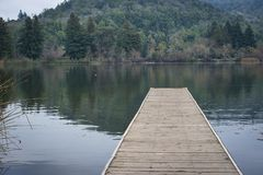 Dock on a small lake. Wooden dock on small lake, hill with lots of trees in the background, Winter season Royalty Free Stock Images