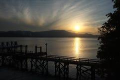 Dock am Sonnenuntergang Lizenzfreies Stockfoto