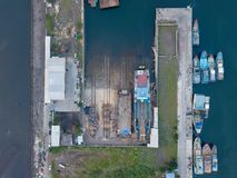 Dock station for tradditional shipyard stock photo