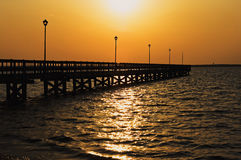 Dock at sunset in Long Beach Island, NJ, bay Royalty Free Stock Images