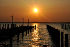 Dock at sunset in Seaside Park, New Jersey Royalty Free Stock Photography