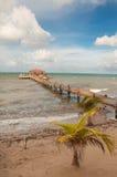 Dock sur la côte de Belize Photo stock