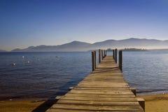 Dock to Lake George stock image