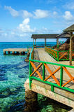 Dock and Tropical Water. A colorful dock with clear tropical Caribbean water in San Andres y Providencia, Colombia Stock Images