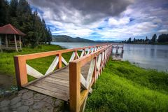 The Dock. In twins lake Stock Images