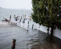 Dock underwater during Hurricane Sandy stock images