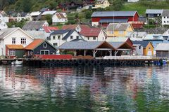Dock of Undredal. On the shore of Aurlandsfjord, Sognefjord, Norway Royalty Free Stock Photography