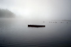 Dock Vanishes into the Fog royalty free stock photos