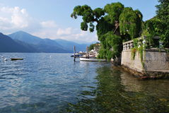Dock and villa on Orta lake, Italy Stock Photography