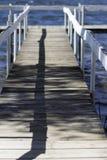 Dock in Water. Wood, Old Dock in lake Stock Photo