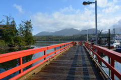 Dock in waterway, Ucluelit BC Stock Photo