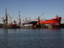 Dock Yard. Vessels docked at a ship yard Royalty Free Stock Photos
