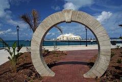 Dock Yard, Bermuda. View throught Moongate in bermuda on port stock images
