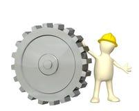 docka 3d med kugghjulet royaltyfri illustrationer