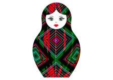 Docka för bygga bo för Matryoshka symbol rysk med den geometriska färgrika prydnaden som är kulör med tuschpennor, isolerad vekto stock illustrationer