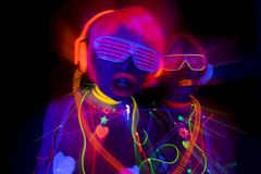 Docka för cyber för uv disko för neon för glöd sexigt kvinnlig Arkivbild