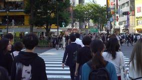 docka för flyttning 4K av folkmassaövergångsstället Shibuya genomskärning Tokyo stock video