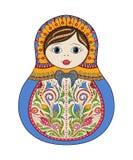 Docka för matrioshka för vektorryss folk dekorativ Räcka utdragen zentangle med blom- och person som tillhör en etnisk minoritetp royaltyfri illustrationer