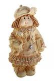 Docka flicka med dockan som isoleras på vit bakgrund Royaltyfri Foto