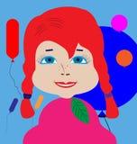 Docka-flicka med råttsvansar i bakgrunden av färgrika ballonger royaltyfri illustrationer