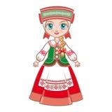 Docka i den vitryska dräkten stock illustrationer