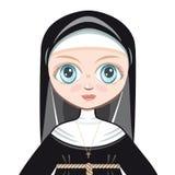 Docka i en kloster- klänning _ vektor illustrationer