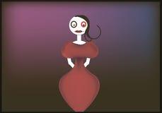 Docka i körsbärsröd klänning, med en tappningfrisyr och olika ögon royaltyfria bilder