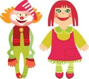 Docka och clown Royaltyfri Bild