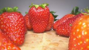 Docka som skjutas av röda saftiga jordgubbar på träbakgrund Söt skördad jordgubbebakgrund, sund matlivsstil arkivfilmer