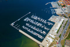 Dockage with yachts. Aerial view of the dock full of yachts on the river of Douro in the city of Porto royalty free stock photos