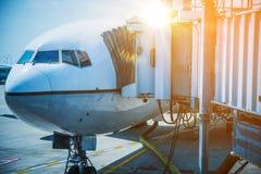 Docked Airplane Jet Bridge Stock Photography