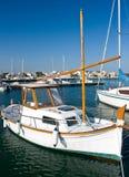 Docked boat. Marina with docked boats, Mallorca, Spain royalty free stock image