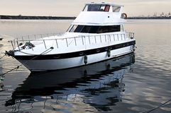 Docked boat. Picture of the portside of a boat royalty free stock photos