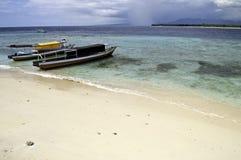 Docked boat in Gili island Stock Photo
