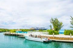 Docked boat at Half Moon Cay in the Bahamas. Royalty Free Stock Photo