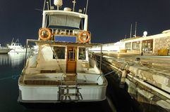 Docked boat at night Royalty Free Stock Photography