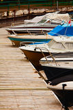 Docked Boats. 5 boats docked in the harbour Royalty Free Stock Photo