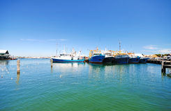 Docked Boats at Fremantle Marina With Blue Sky Stock Photography