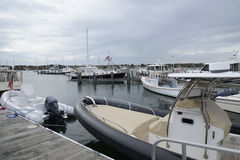 Docked boats in harbor in Stonington Connecticut Stock Photos