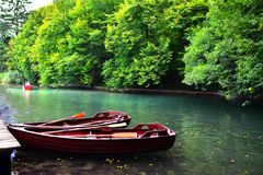 Docked boats, Plitvice Lakes National Park, Croatia Stock Photo