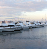 Docked Boats and yachts at Sunset Royalty Free Stock Images