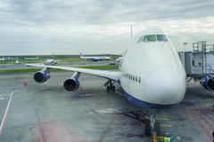 Docked boeing-747 Stock Images
