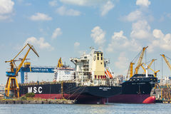 Docked bulk cargo ships royalty free stock images