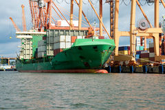 Docked cargo or container ship Stock Images