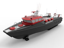 Docked coast guard boat. 3D rendered illustration of a docked coast guard boat. The boat is  on a white background with shadows Royalty Free Stock Photos