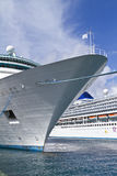Docked cruise ship. Cruise ship docked in the harbor Stock Photo