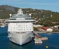 Docked Cruise Ship. A docked cruise ship in a caribbean port Stock Photos