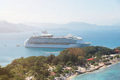 Docked cruise ship. In caribbean sea aerial view Royalty Free Stock Photo